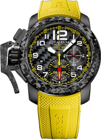Image of Graham Chronofighter Oversize Superlight Carbon Yellow Mens Watch Model 2CCBK.B15A